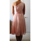 Knee-length Chiffon Bridesmaid Dress Sheath / Column One Shoulder Plus Size / Petite with Side Draping / Pleats