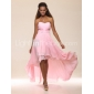 Homecoming Prom/Formal Evening Dress - Blushing Pink Plus Sizes A-line/Princess Strapless/Sweetheart Floor-length/Asymmetrical Chiffon