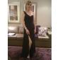 Formal Evening/Military Ball Dress - Black Plus Sizes Sheath/Column One Shoulder Sweep/Brush Train Chiffon
