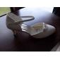 kvinnors mitten häl stängd-tår med strass bröllop brud skor