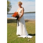 Lanting Bride Sheath/Column Petite / Plus Sizes Wedding Dress-Sweep/Brush Train