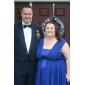 Bridesmaid Dress Floor Length Chiffon Over Elastic Satin A Line V Neck Party Dress