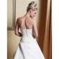 A-line/Princess Plus Sizes Wedding Dress - Ivory Court Train Scalloped-Edge Satin