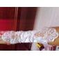 Elbow Length Fingerless Glove Satin Party/ Evening Gloves Spring / Summer / Fall / Winter Black / White Beading / Appliques