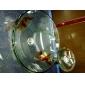 ronda de la victoria transparente de vidrio templado buque fregadero con grifo de cascada, el anillo de montaje y de drenaje de agua (0917-vt4010)