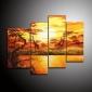 dipinti a mano olio pittura di paesaggio con telaio allungato - set di 4