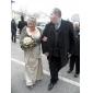 Lanting Bride® Hasta el Suelo Satén Vestido de Dama de Honor Trompeta / Sirena Cuello en V Talla Grande / Pequeña conFlor(es) / Recogido