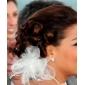 tul magnífico con plumas / casco imitación boda nupcial de la perla (0986-162916)