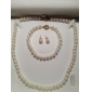 6.5 - 7mm AA White Freshwater Pearl Three - Piece Set