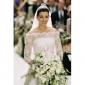 Anne Hathaway The Princess Diaries 2: Royal Engagement A-line Bateau Chapel Train Illusion Satin Lace Celebrity Wedding Dress (WSM0366)