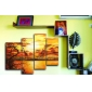 met de hand geschilderde landschap olieverf met gestrekte frame - set van 4
