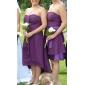 Lanting Bride® Polvipituinen Sifonki / Joustava satiini Morsiusneidon asu - A-linja / Prinsessa Olkaimeton Pluskoko / Petite kanssa