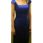 Sheath/Column Plus Sizes Mother of the Bride Dress - Royal Blue Knee-length Sleeveless Stretch Satin