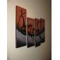dipinti a mano olio su tela astratta, con telaio allungato - set di 4