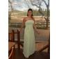 Lanting Bride Longueur Sol Mousseline de soie Robe de Demoiselle d'Honneur  Trapèze / Princesse Sans Bretelles Grande Taille / Petite avec