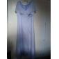 A-line Plus Sizes Mother of the Bride Dress - Grape Floor-length Short Sleeve Chiffon