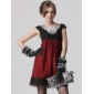TS Stereoscopic Decoration Cape Sleeves Organza Dress