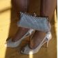 äkta läder stilettklack peep toe med strass / bowknot i skor häl mode