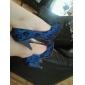 tyg / spets övre chunky klack pumpar med sömnad spets / satin brud blomma bröllop skor