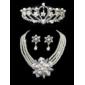 magnifiques cristaux clairs avec une imitation de perles bijoux de jeu, y compris collier, boucles d'oreilles et tiare