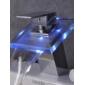Contemporain Set de centre LED / Cascade with  Valve en céramique Mitigeur un trou for  Chromé , Robinet lavabo