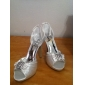 Elegant Satin Upper Stiletto Heel Peep Toe With Rhinestone Wedding Shoes
