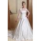 A-line/Princess Plus Sizes Wedding Dress - Ivory Floor-length Strapless Satin/Organza
