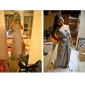 Coloană / Teacă Lungime Podea Șifon Satin Seară Formală Bal Militar Rochie cu Mărgele Eșarfă/Panglică de TS Couture®