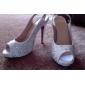 satin övre stilettklack pumpar / slingbacks med strass bröllop / fest skor