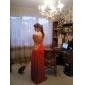 Vestido de Noite Comprido em Chifon e Cetim Elástico (Um Ombro)