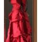Lanting Bride® Boden-Länge Taft Brautjungfernkleid A-Linie / Prinzessin Trägerlos Übergröße / Zierlich mitSchleife(n) / Geraffter Rock /