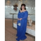A-line Plus Sizes Mother of the Bride Dress - Royal Blue Sweep/Brush Train Short Sleeve Chiffon/Stretch Satin