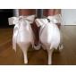 Haut de satin de qualité supérieure du talon haut fermé orteils avec des chaussures de strass de mariée mariage