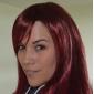 sin tapa extra larga recta de color rojo peluca sintética explosión lado