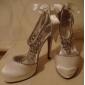 satin övre stilettklack stängda tå med strass bröllop / skor part mer färg finns