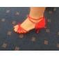 Chaussures de danse(Rouge) -Non Personnalisables-Talon Aiguille-Satin-Latine Salon