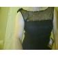 칵테일 파티 / 홀리데이 드레스 - 리틀 블랙  드레스 A-라인 / 공주 보트넥 무릎 길이 쉬폰 / 튤 와 비즈