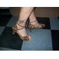 balsal mode leopardmönster tyg övre dansskor latinska skor för kvinnor