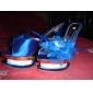 satin övre stilettklack pumpar / tofflor med fjäder fest / kväll skor
