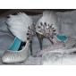 Chaussures de Soirée Similicuir Talons Aiguilles Plumes Strass
