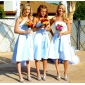 Homecoming Knee-length Satin Bridesmaid Dress - Sky Blue Plus Sizes A-line Strapless