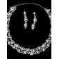 White Pearl Two Piece Shining Ladies' Jewelry Set (45 cm)