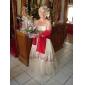Lanting novia una línea / princesa petite / tallas grandes tirantes de la boda vestido palabra de longitud satinado / tul