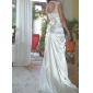 Lanting Bride® Sheath / Column Petite / Plus Sizes Wedding Dress - Chic & Modern / Elegant & Luxurious Open Back Sweep / Brush Train Scoop
