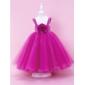 A-line/Princess/Ball Gown Floor-length Flower Girl Dress - Satin/Tulle Sleeveless