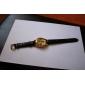Orologio automatico, quadrante dorato ad incisione cava, cinturino in pelle nera