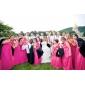 Lanting Sposa Lungo Chiffon Vestito da damigella A tubino Monospalla Taglia forte / Minuta con Drappeggio / Con balze