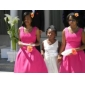 Homecoming Bridesmaid Dress Knee-length Chiffon A-line Straps Dress