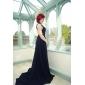 ts couture® abito da sera formale - bella schiena plus size / minuta di una linea di chiffon treno V-Neck Corte con drappeggio laterale