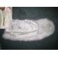 kunstskind speciel lejlighed / bryllup sjal i elfenben med perle foran lukning